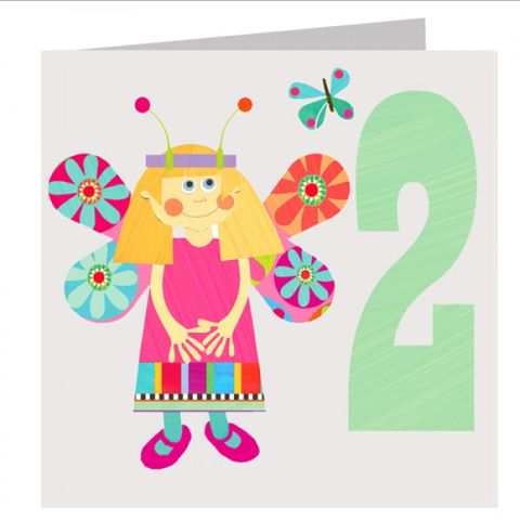 Butterfly,Girls,2nd,Birthday,Card,buy 2nd birthday card online, buy age 2 birthday card online, buy girls first birthday card online, girls bunny birthday card, bunny rabbit 1st birthday card,