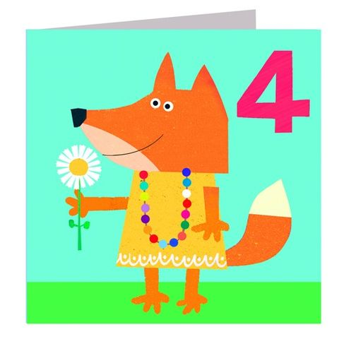 Fox,Age,Four,Birthday,Card,buy 4th birthday card online, buy age four birthday card online, buy girls fourth birthday card online, fox 4th birthday card, fox girls birthday card, age four birthday cards with foxes, animal 4th birthday card