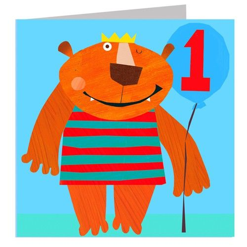 Bear Age One Birthday Card - product images