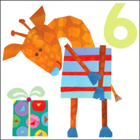Giraffe,6th,Birthday,Card,buy 6th birthday card online, buy birthday cards for sixth birthday online, buy giraffe birthday cards online, birthday cards with giraffes, childrens 6th birthday cards, age six birthday cards