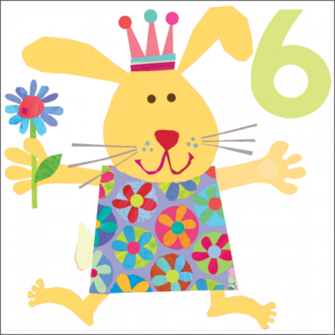Bunny,Rabbit,6th,Birthday,Card,buy 6th birthday card online, buy birthday cards for sixth birthday online, buy rabbit birthday cards online, birthday cards with bunny rabbits, childrens 6th birthday cards, age six birthday cards