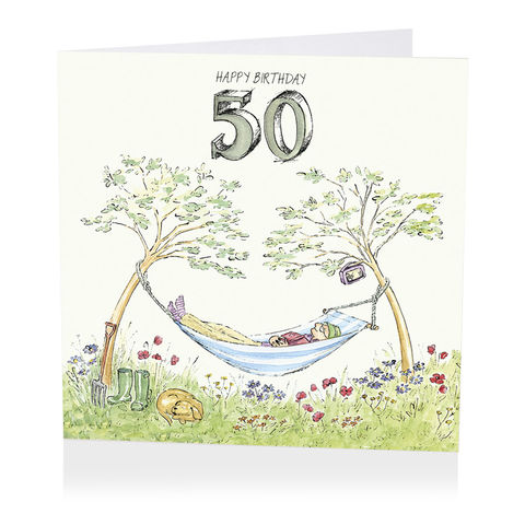 Hammock,Happy,50th,Birthday,Card,buy 50th birthday card for him online, buy male age fifty birthday card online, 50th birthday card for him, fiftieth birthday card, 50th card, buy age birthday cards online