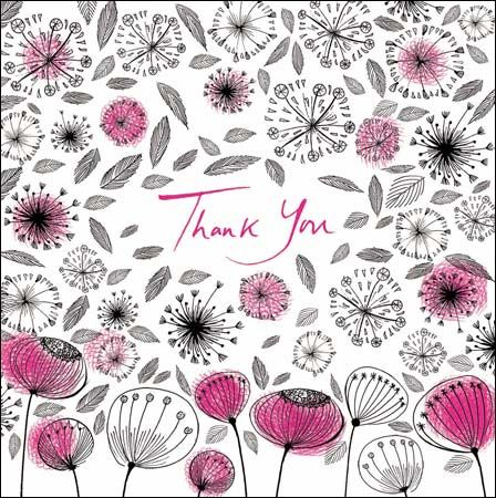Pink Seed Heads and Flowers Mini Thank You Card - product images