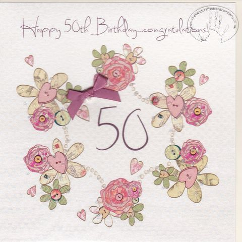 Handmade,50th,Birthday,Card,buy 50th birthday card online, buy fiftieth birthday cards online, card for 50th, 50th card, age 50 card, fiftieth card, fiftieth birthday card for her, age fifty card, birthday card for fifty, female 50th birthday card,