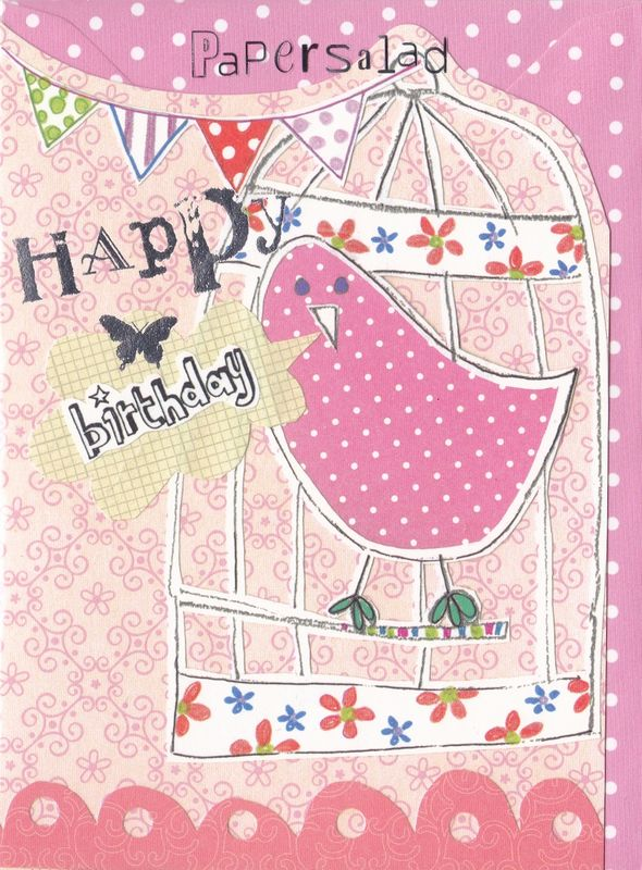 Bird & Birdcage Birthday Card - product images