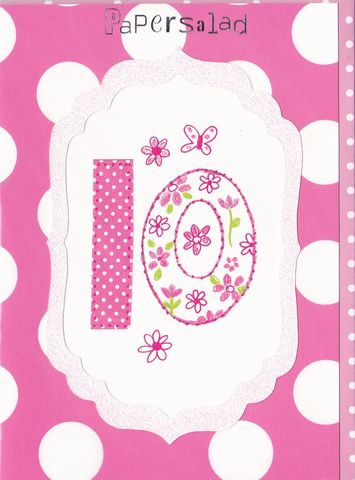 Dotty,10th,Birthday,Card,buy 10th birthday card online, buy girls 10th birthday cards online, pink age ten birthday cards, butterfly 10th birthday card, age ten birthday card, pink age ten cards for girls