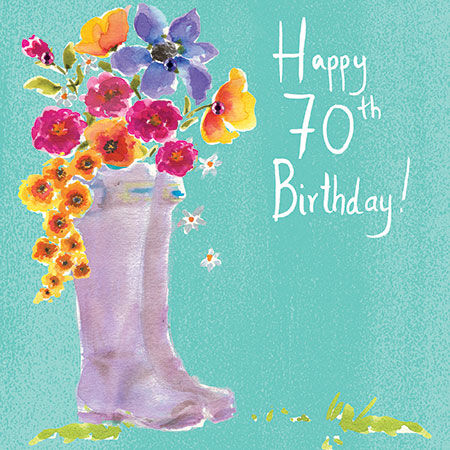 Wellingtons,&,Flowers,70th,Birthday,Card,buy 70th birthday card online, buy seventieth birthday cards for her online, female 70th card, floral 70th birthday card for her, 70th birthday card with flowers, buy female age seventy birthday cards online