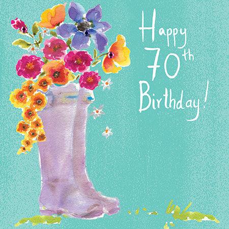 Wellingtons Flowers 70th Birthday Card