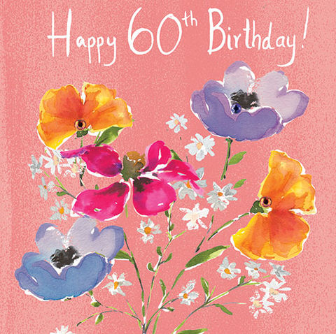 Floral,60th,Birthday,Card,buy 60th birthday card online, buy sixieth birthday cards for her online, female 60th card, floral 60th birthday card for her, 60th birthday card with flowers, buy female age sixty birthday cards online