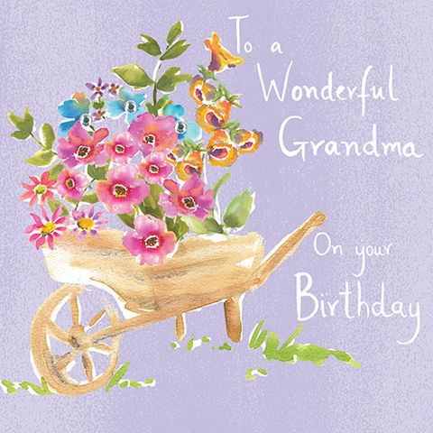 Flowers,&,Wheelbarrow,Grandma,Birthday,Card,buy grandma birthday card online, buy birthday cards for grandmothers, buy birthday cards for grandparents, grandma flower birthday card, card for granny, card for gran