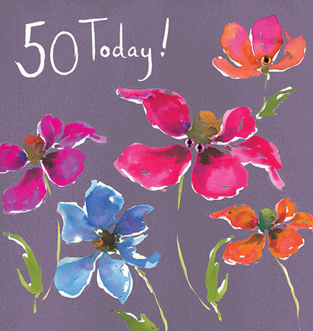 Floral,50,Today,Birthday,Card,buy 50th birthday card online, buy fiftieth birthday cards for her online, female 50th card, floral 50th birthday card for her, 50th birthday card with flowers, buy female age fifty birthday cards online