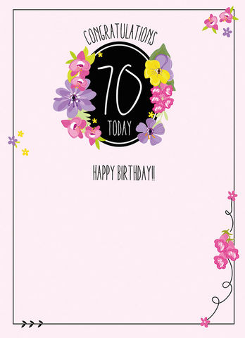 Congratulations,70,Today,Birthday,Card,buy 70th birthday card online, buy female 70th birthday cards online, buy age seventy birthday card for her online, floral seventieth birthday cards, age seventy birthday cards with flowers