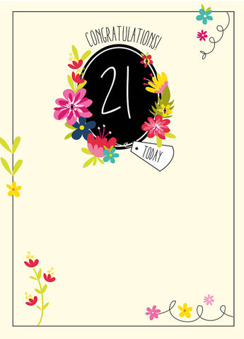 Congratulations,21,Today,Birthday,Card,buy 21st birthday cards for her online, female age 21 birthday card, buy twenty-first birthday card online, age twenty one birthday card with butterfly, butterfly 21st card, flowers 21st birthday card