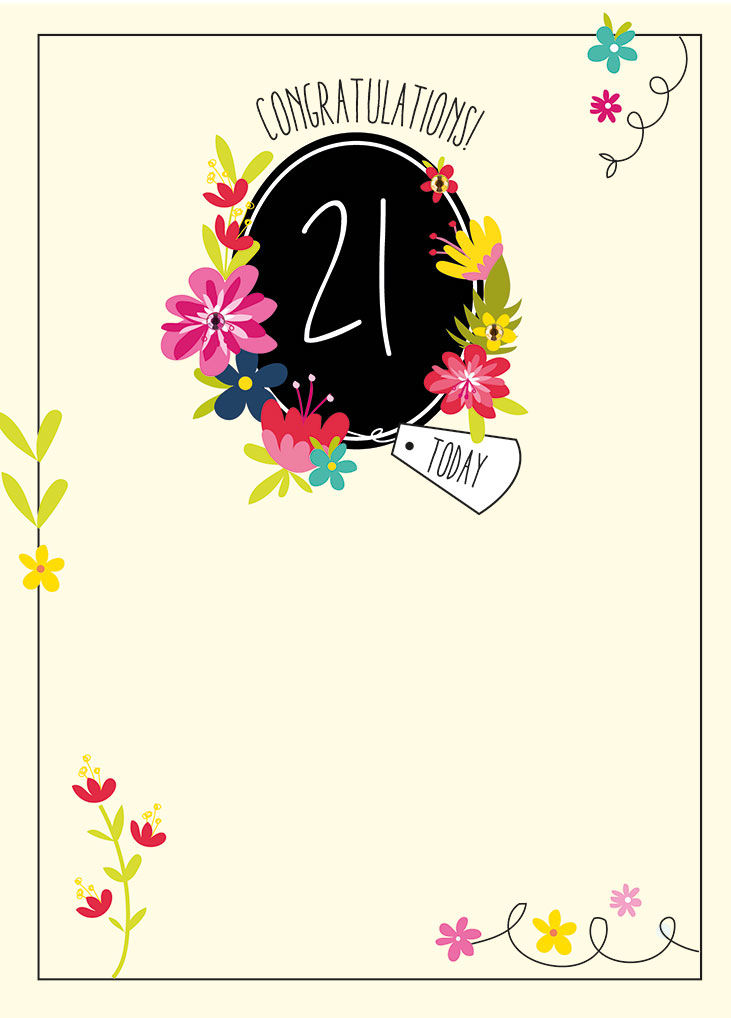 Congratulations 21 Today Birthday Card Karenza Paperie