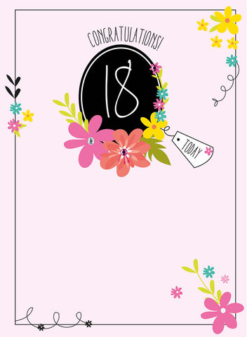 Congratulations,18,Today,Birthday,Card,buy 18th birthday card online, buy eighteenth birthday cards for her online, floral age eighteen birthday card for her, 18th birthday cards with flowers