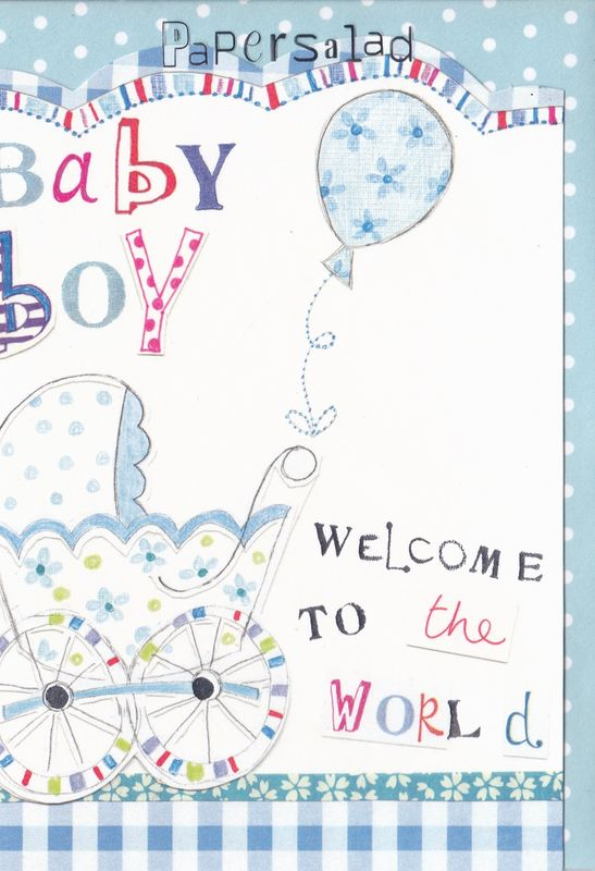 Blue Pram & Balloon Baby Boy Card - product images  of