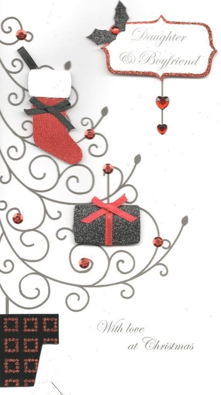 Handmade Daughter & Boyfriend Christmas Card - product images  of