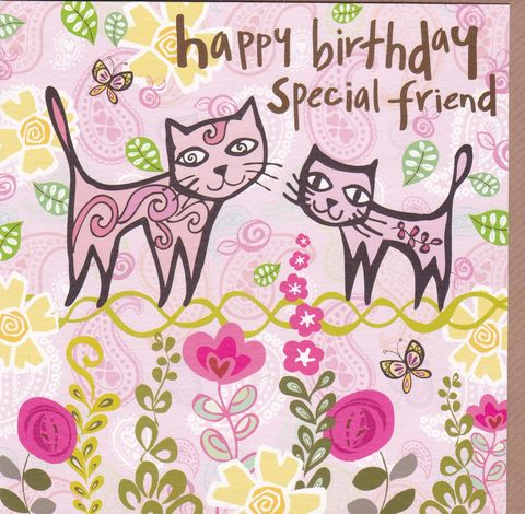 Cats,Special,Friend,Birthday,Card,buy cats special friend birthday cards online, buy best friend birthday cards online, birthday cards for special friends, cat friend birthday card, pink cats birthday card, kittens birthday card,