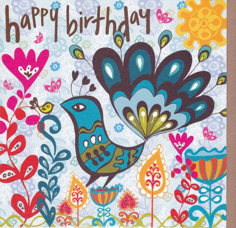 Peacock,&,Flowers,Birthday,Card,buy peacock birthday card for her online, buy female birthday cards with peacocks, bird birthday card for her, peacock and flowers birthday cards