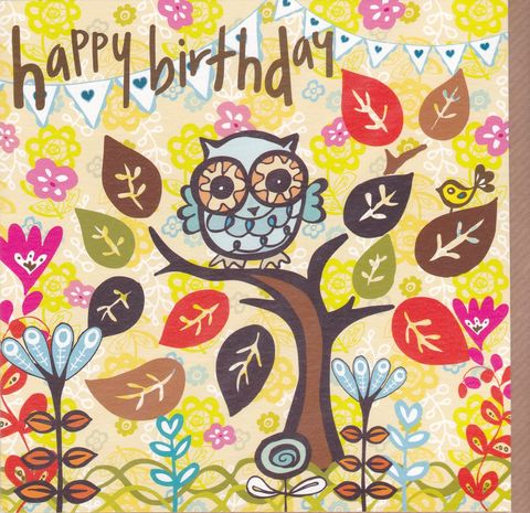 Owl,&,Tree,Birthday,Card,buy female birthday cards online, buy birthday cards for her online, buy owl birthday card online, birthday cards with owls, tree birthday cards, flowers birthday card, female birthday cards with birds, floral birthday cards