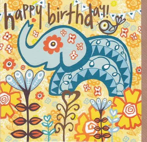 Elephant,&,Bird,Birthday,Card,buy female birthday cards online, buy birthday cards for her online, buy elephant birthday card online, birthday cards with elephants, birthday cards with birds, nature birthday cards, birthday cards with flowers