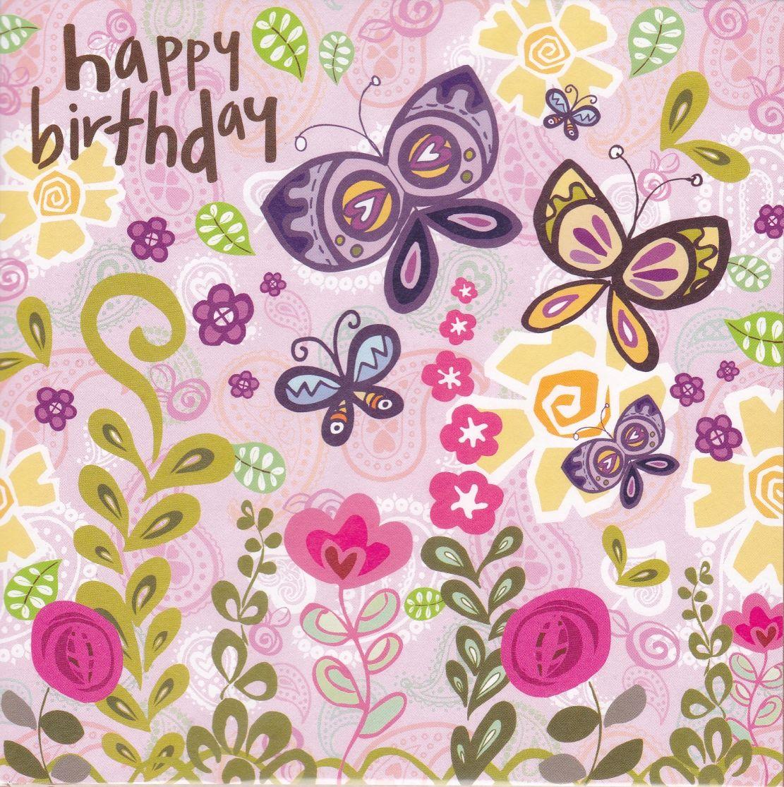 Butterflies Flowers Birthday Card Karenza Paperie