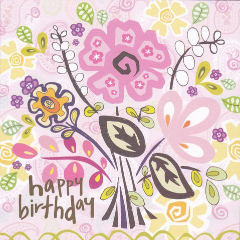Flowers,Birthday,Card,buy contemporary birthday card online, buy birthday cards for her online, buy floral birthday cards for her online, female birthday cards, birthday cards with flowers, flower birthday card for female