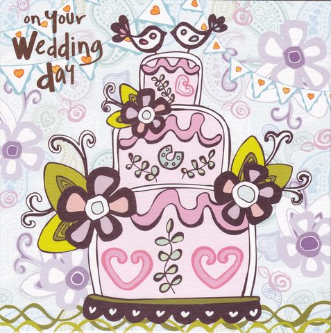Wedding,Cake,&,Birds,Card,buy wedding day cards online, buy cards for weddings online, buy mr and mrs wedding day card online, contemporary wedding card, bride and groom wedding card, wedding cake wedding cards, birds wedding day card