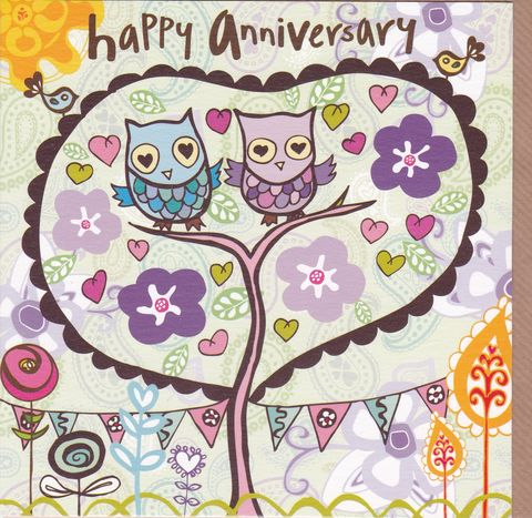 Owls,&,Tree,Happy,Anniversary,Card,buy anniversary cards online, buy wedding anniversary cards online, happy anniversary cards, cards for wedding anniversaries, owls anniversary card, tree anniversary cards, anniversary cards with birds