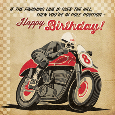 Finishing,Line,Motorbike,Birthday,Card,buy motorbike birthday cards for him online, buy retro birthday cards online, buy male birthday cards online, buy mens car birthday card online, birthday cards for men, birthday cards with cars