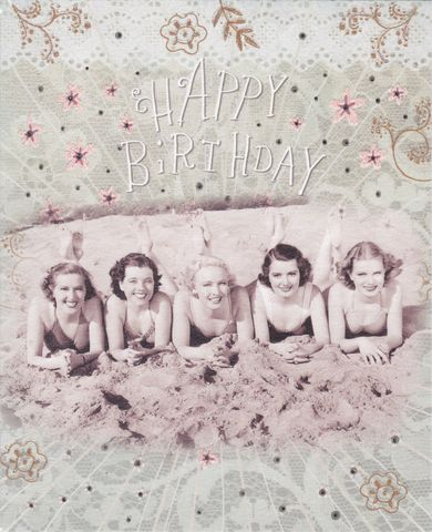 Ladies,At,The,Beach,Birthday,Card,buy female birthday cards online, buy birthday cards for her online, buy vintage birthday card online, swimsuit birthday card, swimming costumes birthday card, beach birthday card, seaside birthday card