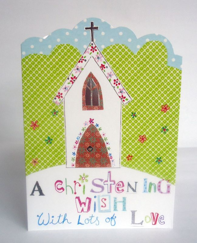 Church & Flowers A Christening Wish Christening Day Card - product images  of