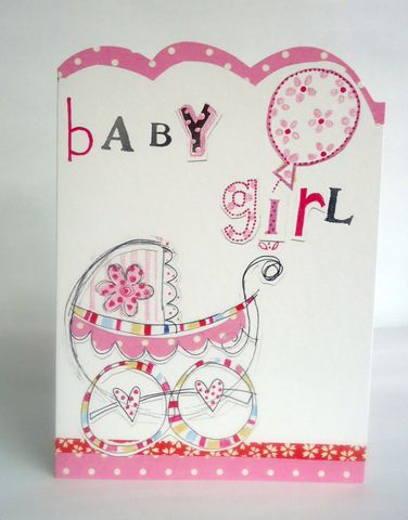 Pink,Pram,&,Balloon,Baby,Girl,Card,buy new baby cards online, buy new baby girl cards online, cards for new baby, new baby card, card for new baby girl, toys new baby cards, pink new baby cards