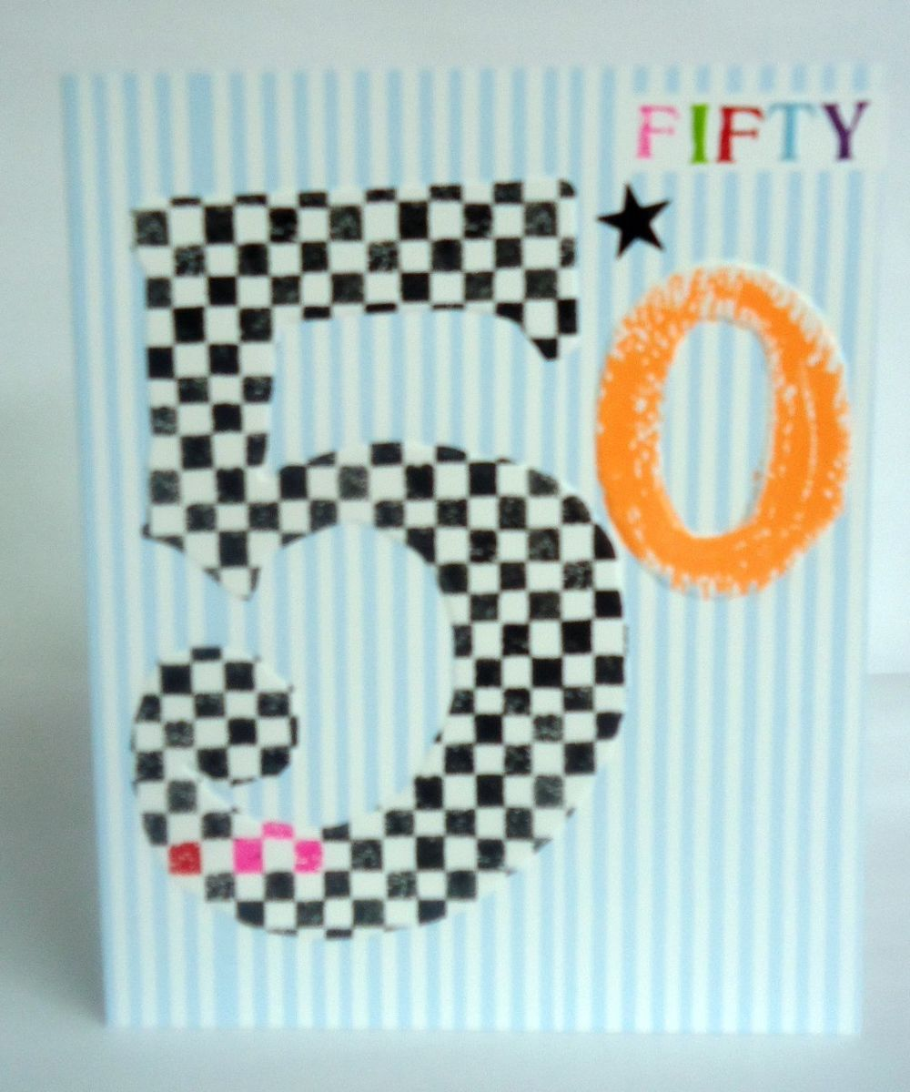 Chequered 50th Birthday Card