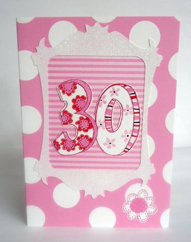 Dotty,30th,Birthday,Card,buy pink 30th birthday card for her online, female age thirty birthday cards, buy 30th birthday card online, dotty female thirtieth birthday cards, flowers 30th birthday card, pink floral 30th birthday cards