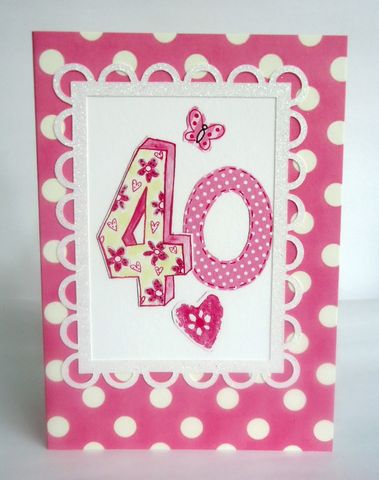Dotty,40th,Birthday,Card,buy pink 40th birthday card for her online, female age forty birthday cards, buy 40th birthday card online, dotty female fortieth birthday cards, butterfly 40th birthday card, pink heart 40th brithday cards