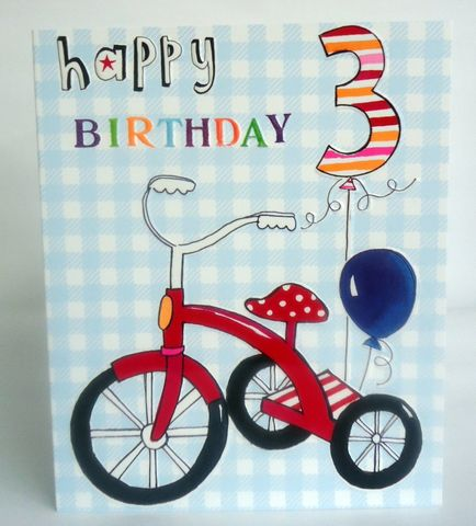Trike,3rd,Birthday,Card,buy 3rd birthday card online, buy boys age three birthday card online, buy trike 3rd birthday card online, buy age3 birthday cards with bikes, childs age 3 birthday card
