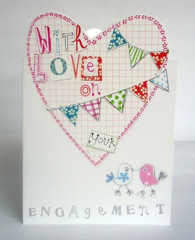 Heart,With,Love,On,Your,Engagement,Card,engagement cards with hearts, engagement cards with love birds, bird engagement card, buy heart engagement cards online, buy cards for engagements online, engagement cards, congratulations on your engagement card, you are engaged card, congrats cards, con