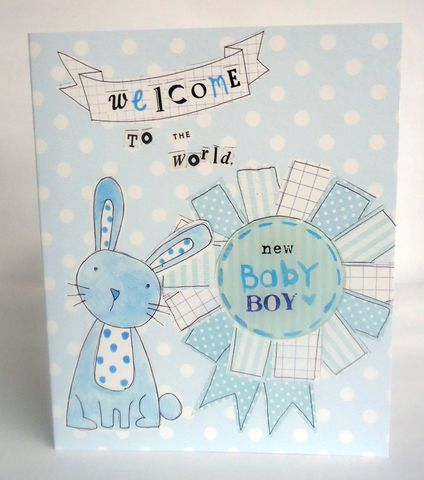 Rabbit,&,Rosette,Baby,Boy,Card,buy new baby cards online, buy new baby boy cards online, cards for new baby, new baby card, card for new baby boy, blue new baby boy card, cards for new babies