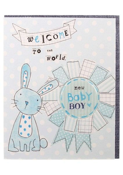 Rabbit & Rosette Baby Boy Card - product images  of