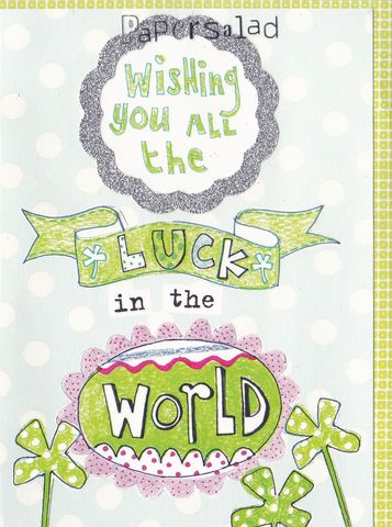 Wishing,You,All,The,Luck,In,World,Card,buy good luck cards online, buy cards for good luck, dotty good luck card, four-leaf clover good luck card, four leaved clover cards for good luck