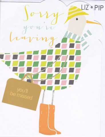Bird,Sorry,You,Are,Leaving,Card,buy sorry you are leaving card online, bon voyage card, bird leaving card, duck sorry you are leaving card, you'll be missed card