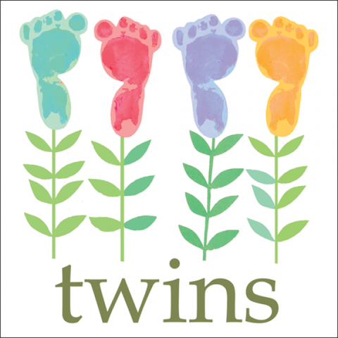 Footprints,Baby,Twins,Card,buy twins card online, buy card for baby twins online, new babies card, baby twins card, baby girls card, baby boys card, new arrivals card