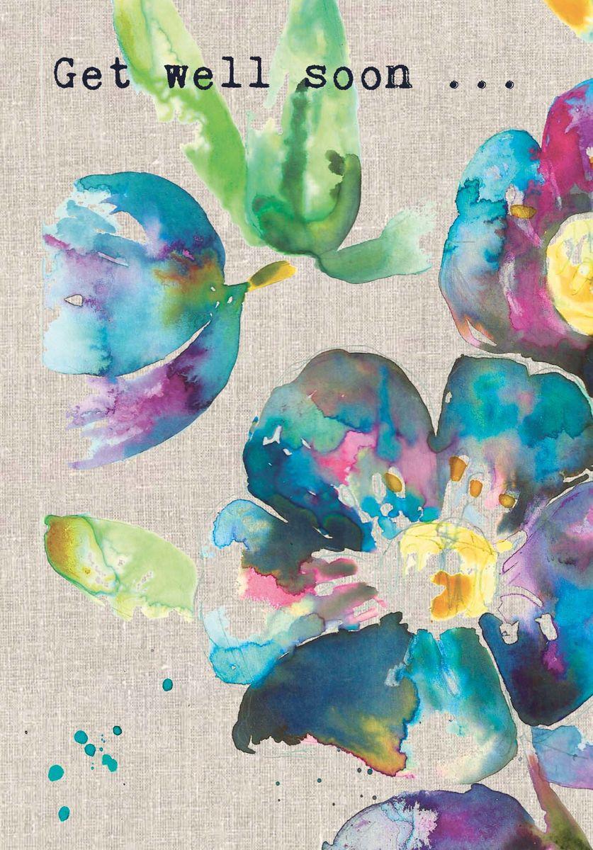 Blue Flowers Get Well Soon Card