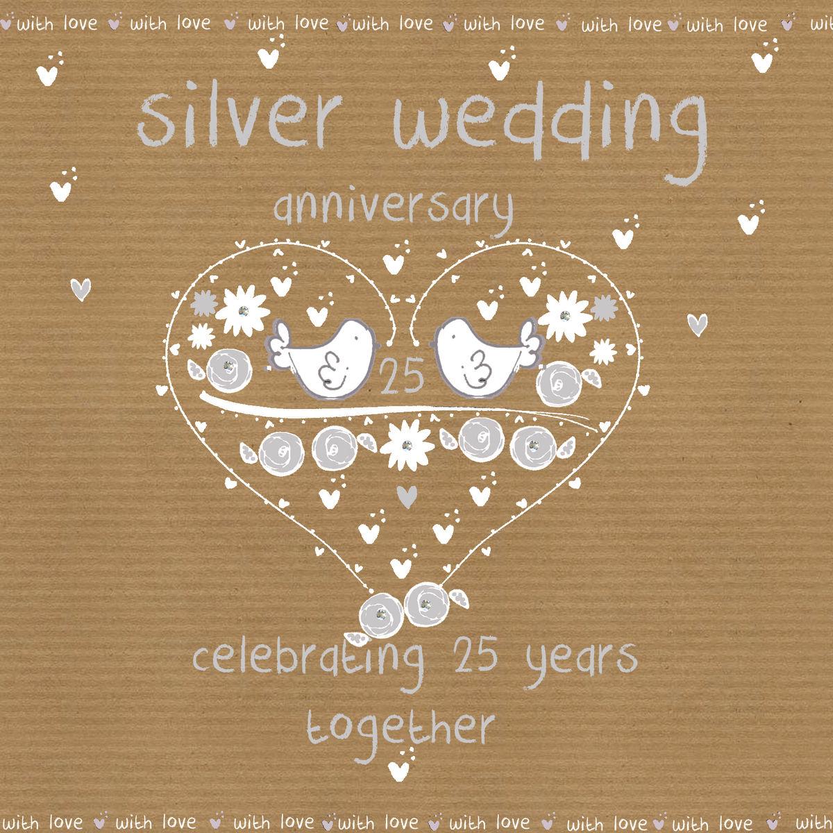 Twenty Fifth Wedding Anniversary Gift Ideas: Silver Wedding Anniversary Card