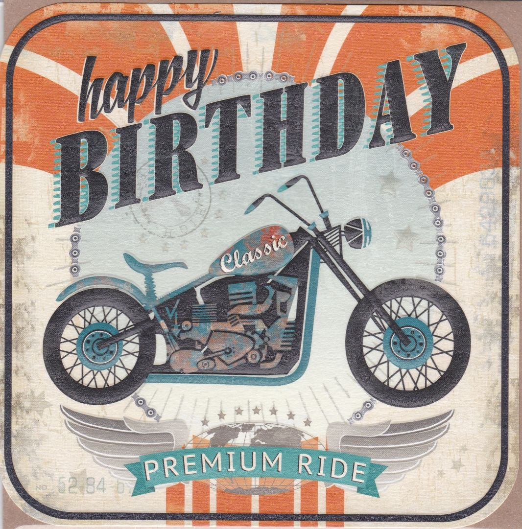 Motorbike Happy Birthday Card