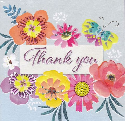 Flowers,&,Butterfly,Thank,You,Card,buy thank you cards online, buy cards for thank you online, butterfly thank you cards, thank you cards with flowers, thank you so much card, floral thank you cards
