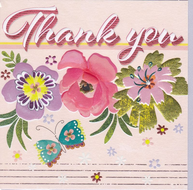 Flowers & Butterfly Retro Thank You Card - product images