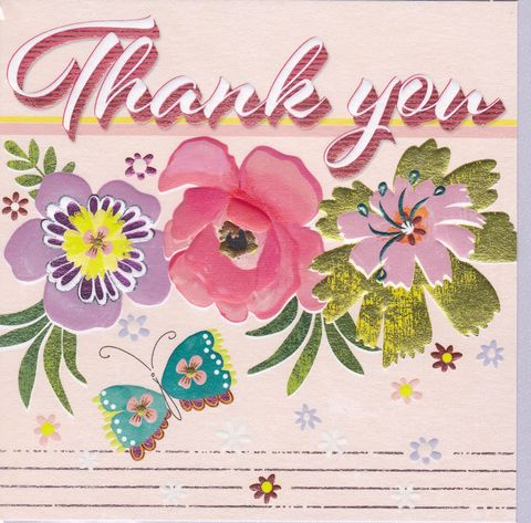 Flowers,&,Butterfly,Retro,Thank,You,Card,buy thank you cards online, buy cards for thank you online, butterfly thank you cards, thank you cards with flowers, thank you so much card, floral thank you cards