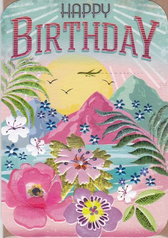 Tropical,Island,Birthday,Card,buy female birthday cards online, buy birthday cards for her online, buy tropical birthday cards for her online, island birthday card, holiday birthday card, plane birthday cards, birthday cards with aeroplanes, tropical flowers birthday card